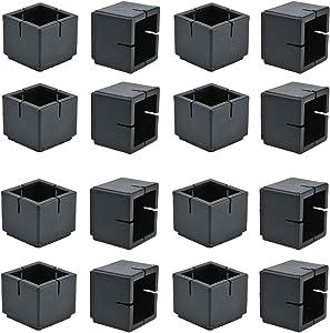 Chair Leg Floor Protectors, WarmHut 16pcs Black Silicone Table Furniture Leg Feet Tips Covers Caps, Felt Pads, Prevent Scratches, Wood Floor Protector (Square)(Black)