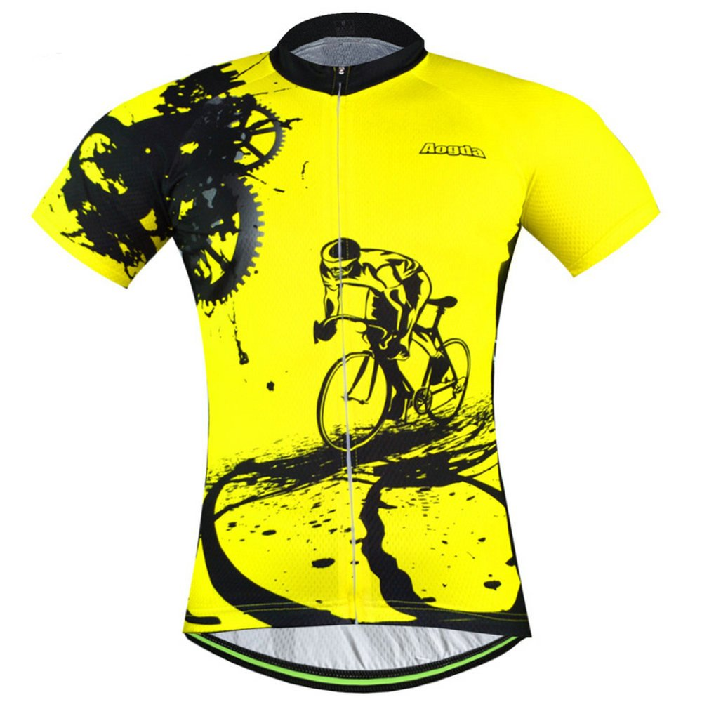 Men Cycling Jerseys Yellow Shirts Breathable Quick Dry Jacket Short Sleeves Suit  Aogda Team Cycling Clothing White (Yellow Jerseys, M)