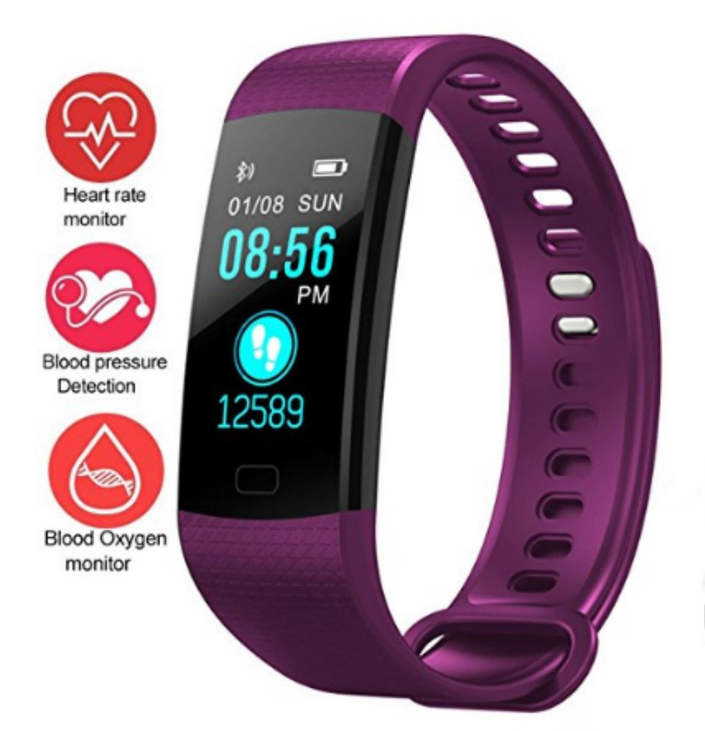 Activity Trackers Sport Smart Watch Color Screen Fitness Tracker Heart Rate Blood Pressure Monitor Bluetooth Wearable Technology Wristband Step Counter Smart Bracelet for Android and iOS (Purple)