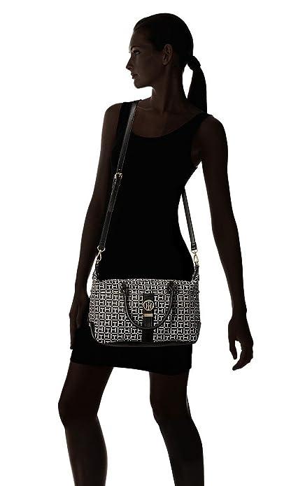 Amazon.com: Tommy Hilfiger Womens Evanna Convertible Satchel Black/White One Size: Shoes