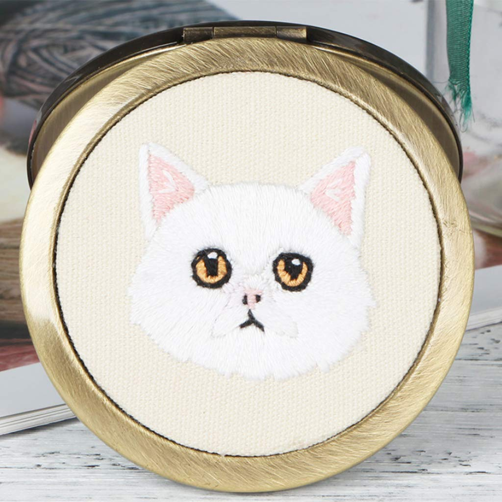 E001 Brooch or Brooch Embroidery Starter Kit with Embroidery Hoop Glue CUTICATE Cute Cat Painting Double-Sides Mirror DIY Needlework
