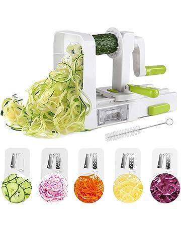 Cortador de Verduras Espiral ,Cortador Espiral 5 en 1 Doblado Espiralizador Cepillo de Limpieza Verduras