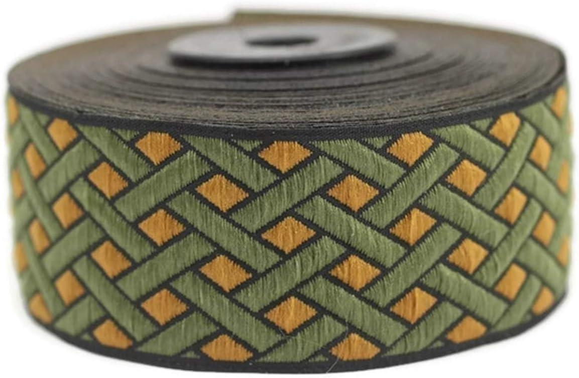 Jacquard Ribbon Fabric Wide Trims Ribbonlands 35 mm Elf Green Node Motive Jacquard Ribbons Craft Supplies Collar Supply 10 Meters// 32.8 ft Jacquard Trim 11 Yard//10 m 1.37 inches