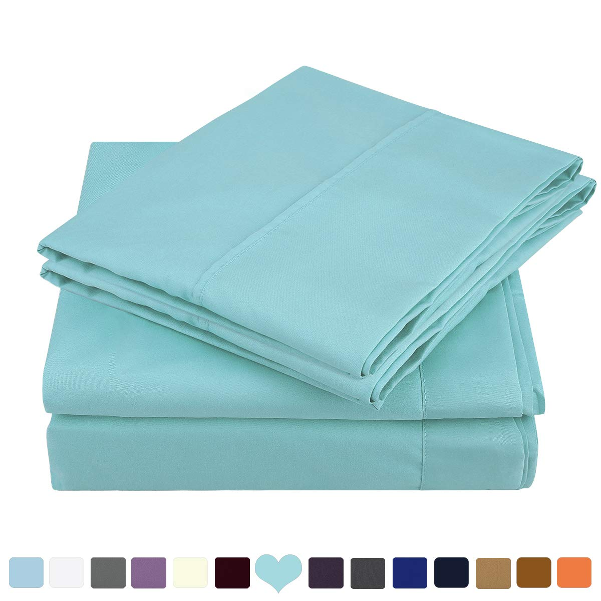 HOMEIDEAS 4 Piece Bed Sheet Set (Queen, Spa Blue) 100% Brushed Microfiber 1800 Bedding Sheets Deep Pockets,Wrinkle & Fade Resistant