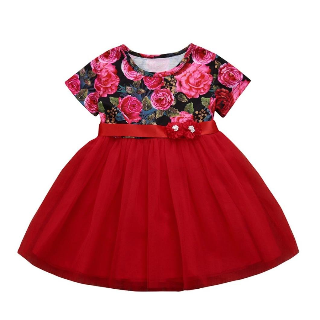 WARMSHOP Party Princess Dress 1-5 T Red Color Flower Print with Belt Tutu Net Yarn Ball Gown Skirt