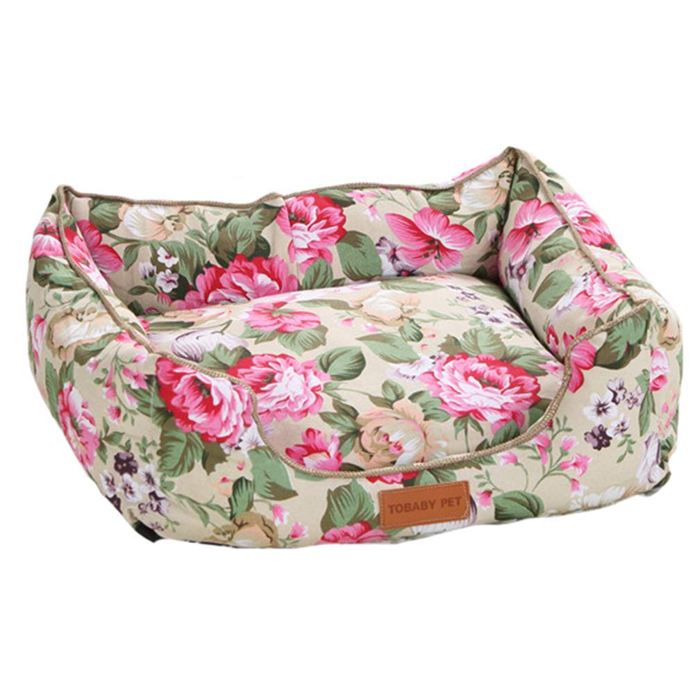 L Pet Kennel Dog Floral Bed House Mats Breathable Hand Wash Sofas Pastoral Wind Kennel Pet Products Pet Products,L