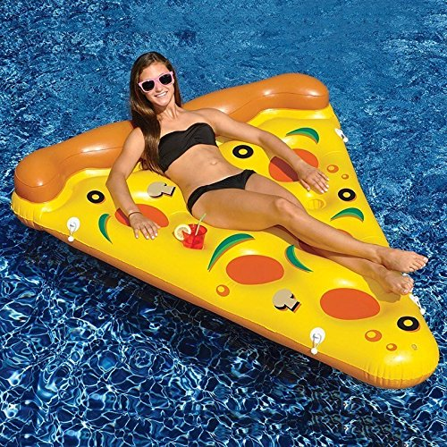 [180150cm Giant Inflatable Pizza Swimming Pool Float Summer Water Toys Outdoor Fun Toy Beach Resting Lounger Air Mattress] (Adult Floating Ghost Halloween Costumes)