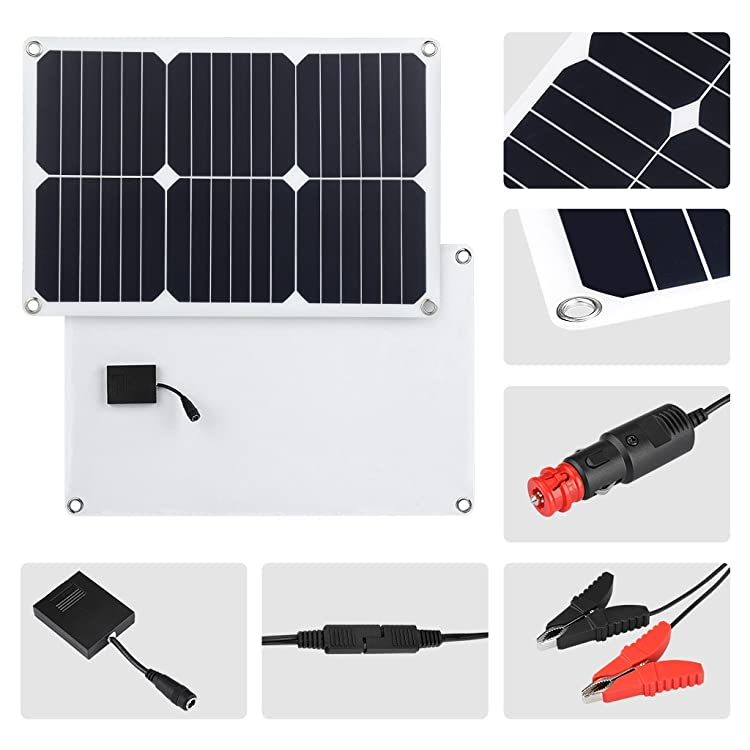 Portable SunPower Solar Panel Trickle Charger with Cigarette Lighter Plug, Battery Charging Clip Line for Motorcycle RV Boat Marine Snowmobile