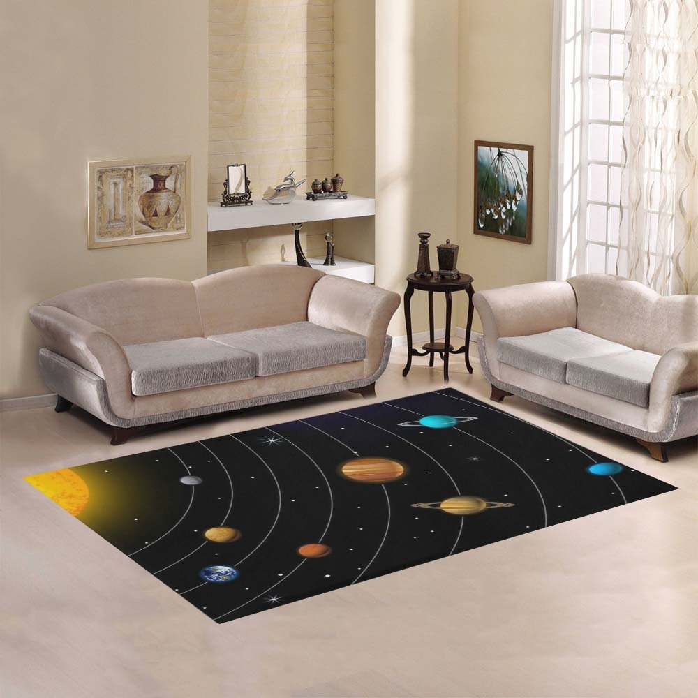 D-Story Sweet Home Art Floor Decor Outer Space Galaxy Solar System Area Rug Carpet Floor Rug 7'x5' For Living Room Bedroom