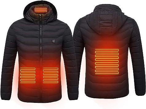 男性と女性の加熱ジャケット、ハイキングキャンプスキーオートバイ用の4つの加熱ゾーンを備えたUSB炭素繊維加熱温度制御防水ウォームコート