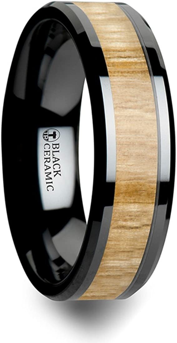Thorsten Filmore Black Ceramic Ring with Polished Beveled Edge Wedding Band and Genuine Ash Wood Inlay 6mm Wide from Roy Rose Jewelry