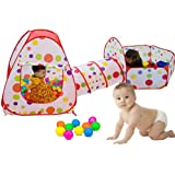 TOPFIRE Kids Toddler Pop Up Ball Play Pit Pool Outdoor, Balls NOT included (Tent + Ball Pool + Pipeline)