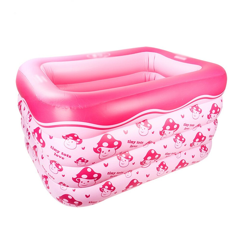Hw bathtub Baby Inflatable Rectangular Print Swimming Pool Material: PVC Size: Small: 10512075cm; Large: 10514075cm Bathtub (Color : B)