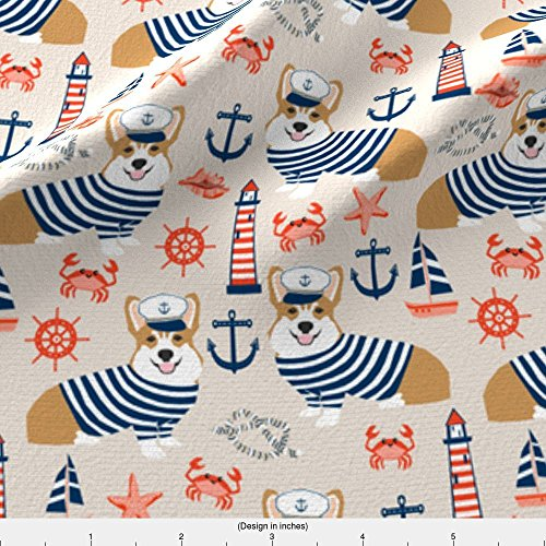 Kona Sailboat - Spoonflower Nautical Fabric Corgi Nautical Summer Fabric Sailor Sailboat Fabric Corgis Dog Fabric by Petfriendly Printed on Kona Cotton Ultra Fabric by the Yard