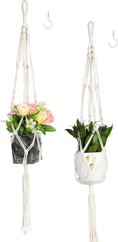 "Purnap 2 Pack Macrame Plant Hangers with 2 Hooks, Handmade Indoor Outdoor Hanging Planter Holder Basket Flower Pot Holder Cotton Rope for Garden Home Decoration, 4 Legs, 42"" Length: Garden & Outdoor"