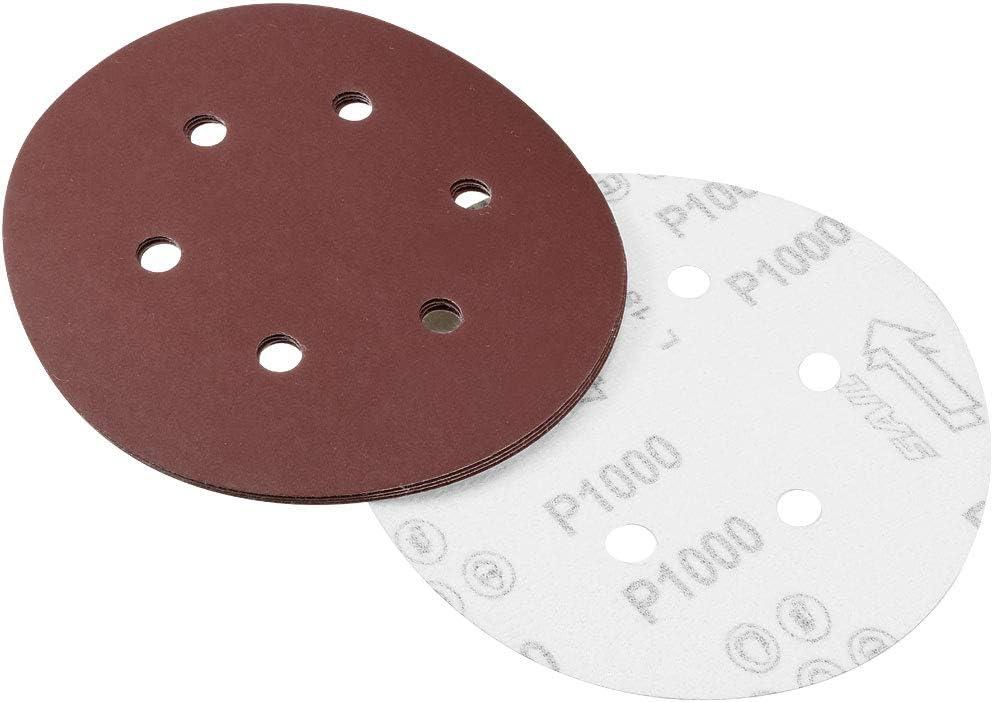 sourcing map 6 Inch 6 Holes 800 Grits Hook and Loop Sanding Discs Abrasive Aluminum Oxide Sandpaper for Orbital Sander 10pcs