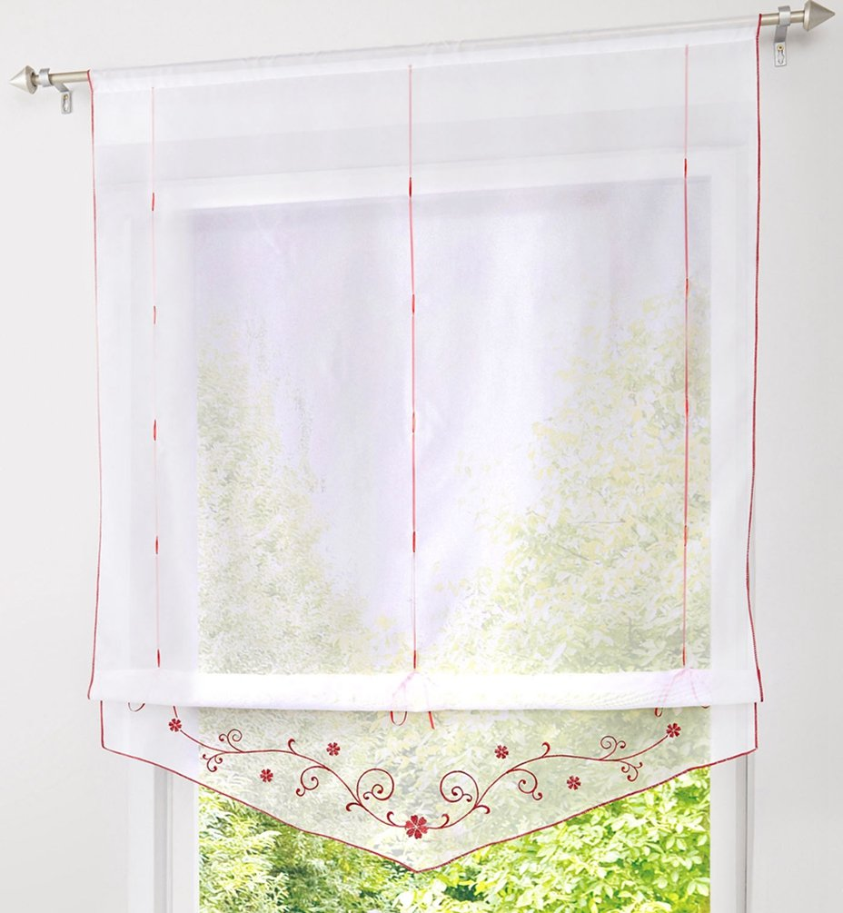 ZebraSmile Adorable Embroidered Floral Tie Up Rod Pocket Semi Sheer Kitchen Window Curtain Embroidered Floral Roman Curtain Lifable, 24 x 55 Inch, Burgundy Lmqiukjh60