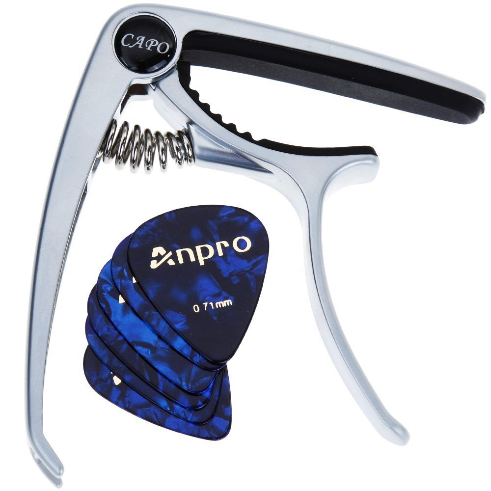 Anpro Cejilla Capo para Guitarra (plata) +6 Púas(0,46, 0.71mm cada 3pcs)