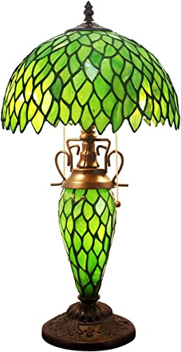 Tiffany Style Table Lamp W12H22 Inch Green Wisteria Stained Glass Lampshade Antique Night Light Base S523 WERFACTORY Lamps Lover Gifts Living Room Bedroom Office Study Coffee Desk Art Handmade Gift