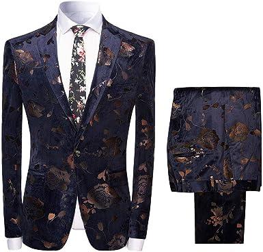Veste Smoking Homme Élégant Coloré Doux Bouton Slim Mode