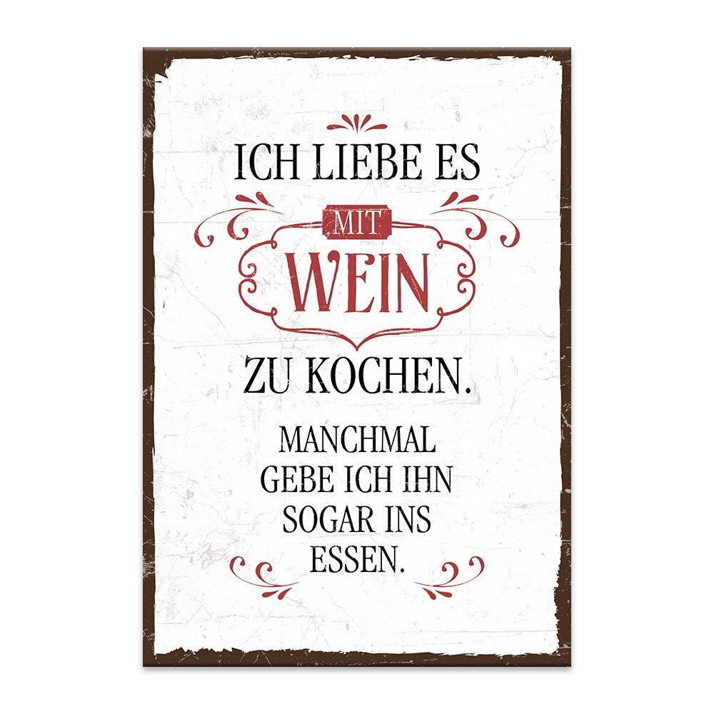 Typestoff Holzschild Mit Spruch Ich Liebe Es Mit Wein Zu Kochen