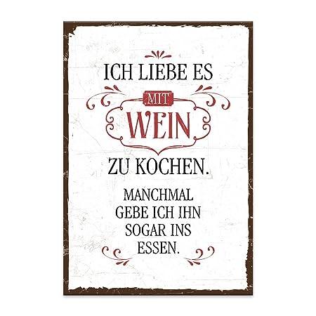 Holzschild Mit Spruch Ich Liebe Es Mit Wein Zu Kochen Shabby