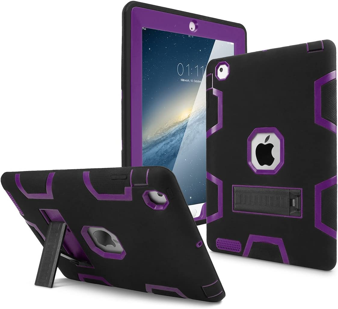 iPad 2 Case,iPad 3 Case,iPad 4 Case, AICase Kickstand Shockproof Heavy Duty High Impact Resistant Rugged Hybrid Three Layer Armor Full Body Protection Case with Stylus for iPad 2/3/4 (Black/Purple)