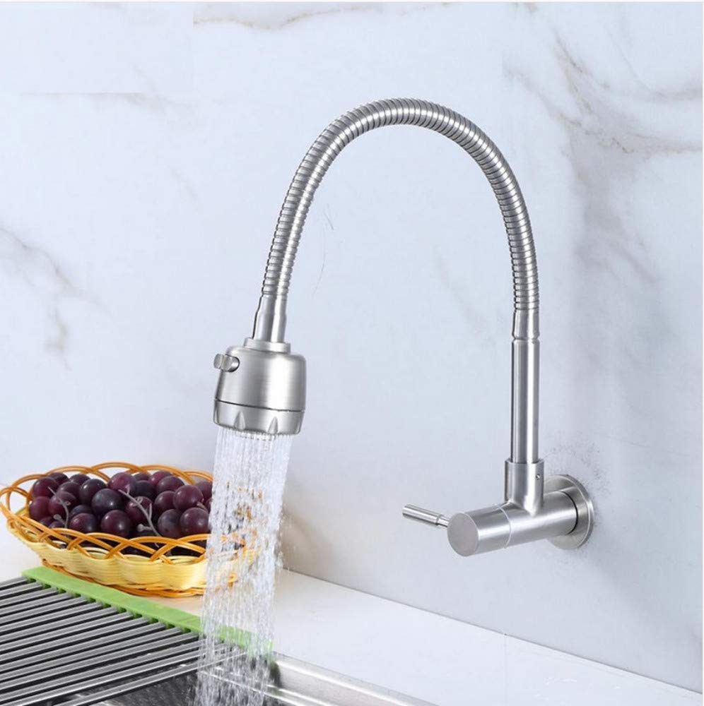 Dwthh Wall Mounted Single Cold Kitchen Faucet Kitchen Sink Tap Stainless Steel