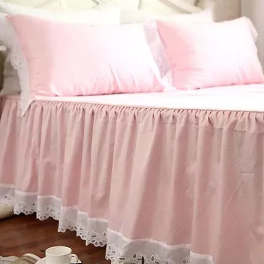YKFN ピンク ベッドスカート ベッドスプレッド シングル ベッドカバー コットン100% おしゃれ ベッド掛け 寝具 シーツ 巾着袋付き B06XG3B5NG  ベッドスプレッド(180*200cm)