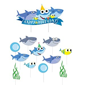 Shark Birthday Cake Topper Cupcake Toppers Shark Theme Party Supplies Kids Birthday Party Supplies Decorations (Blue)