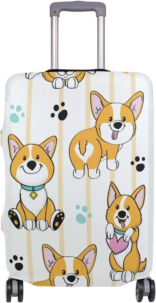 Baggage Covers Corgi Dog Cute Paw Heart Stripe Washable Protective Case