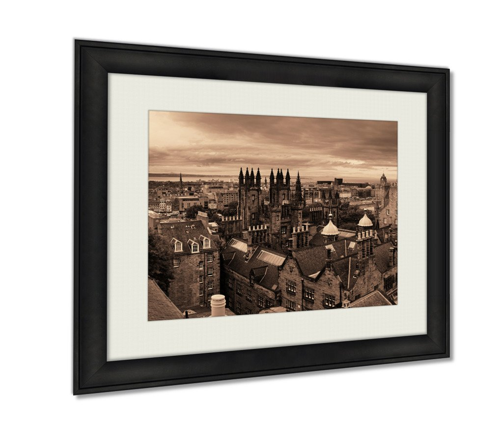 Ashley Framed Prints, Edinburgh City Rooftop View With Historical Architectures United Kingdom, Black, 16x20 Art, AG5818696