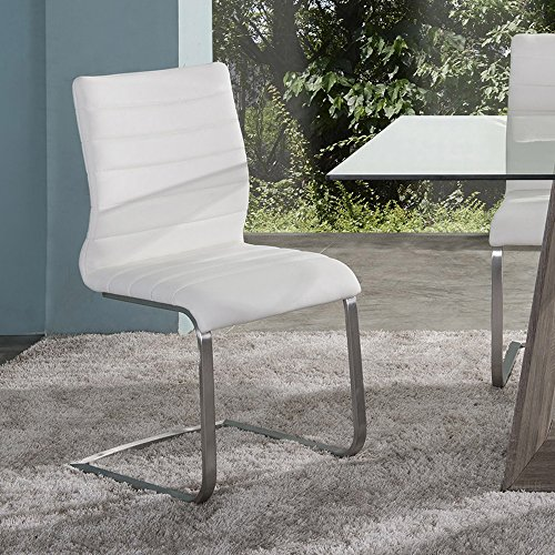 Armen Living LCFUSIWH Fusion Dining Chair Set of 2 in White Faux Leather and Brushed Stainless Steel Finish - Fusion Dining Collection