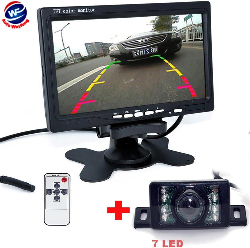 Pathson sans Fils 4,3TFT LCD Moniteur Pliant+CCD Cam/éra de recul de trajectoire Intelligente de la Voiture avec Une Ligne modifiable automatiquement,4 lumi/ères LEDs Vision Nocturne