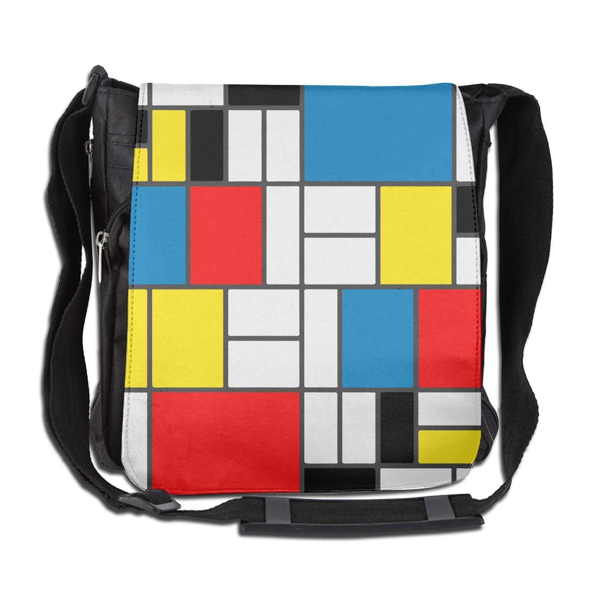LRHUI Mondrian Style Unisex Multifunction Narrow Single Shoulder Bag Diagonal Travel Bag