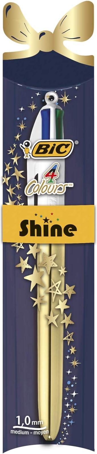 BIC Shine Xmas - - Bolígrafo de 4 colores surtidos: Amazon.es: Oficina y papelería