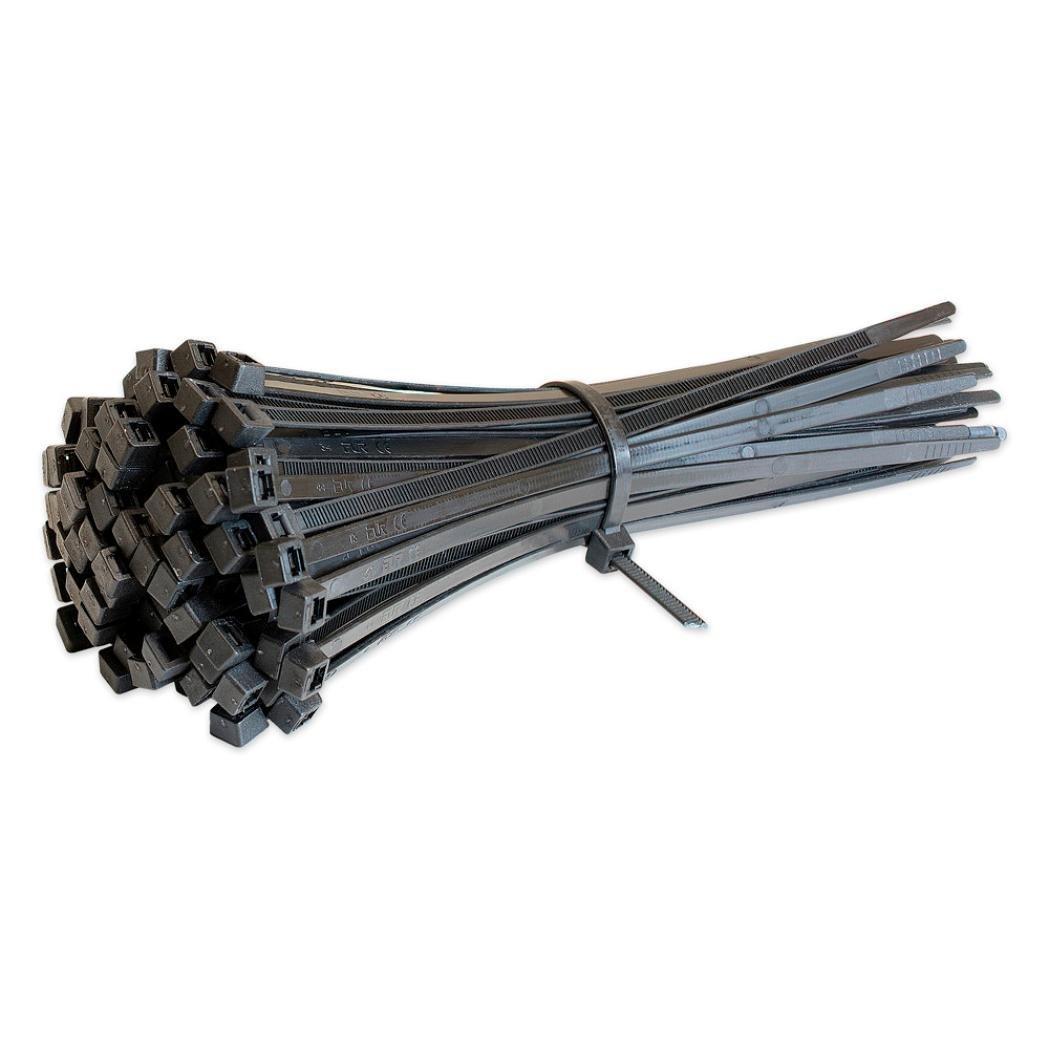 Extra Long Nylon Zip Premium Tie(Pack of 100) (Black)