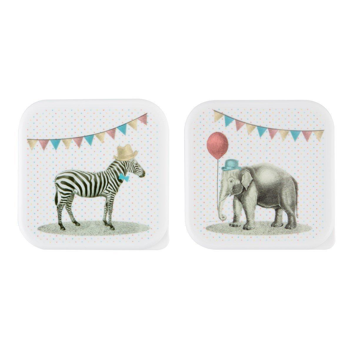 sass & belle Brotdose SET grün rot Party Animals Elefant Zebra Dose Frühstück Brotbox