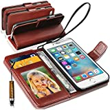 Apple iPhone 7 Rich Leather Stand Wallet Flip Case Cover Book Pouch / Quality Slip Pouch / Soft Phone Bag (Specially Manufactured - Premium Quality) Antique Leather Case With Mini Touch Stylus Pen Brown