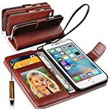 Apple iPhone 7 Plus / iPhone 8 Plus GBOS Rich Leather Stand Wallet Flip Case Cover Book Pouch / Quality Slip Pouch Case / Soft Phone Bag (Specially Manufactured - Premium Quality) Antique Leather Case With Mini Touch Stylus Pen Brown For Apple iPhone 7 Plus / iPhone 8 Plus