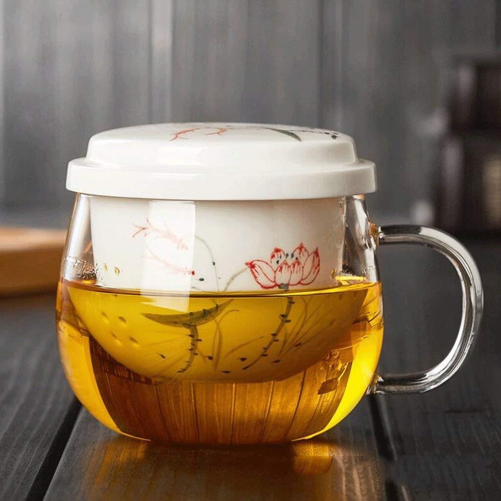 Chusea Kitchen Tea Set Porcelain Drinkware Set Saucers Glass Cup Heat-Resistant Thickening Glass Drinking Glass Mug Ceramic Filter Liner Transparent Flower Cup 310ML