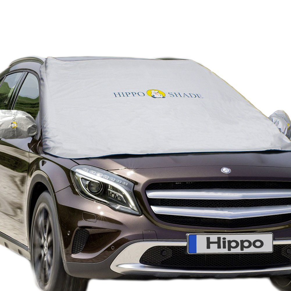 Windshield Snow Cover,Hippo Magnetic Windshield Cover & Mirror Covers Used for Storage Pouch - Ice Sun Frost and Wind Proof in All Weather, Fit for Most Vehicle with Size 74.86'× 49.25'(Sliver) Fit for Most Vehicle with Size 74.86× 49.25(Sliver