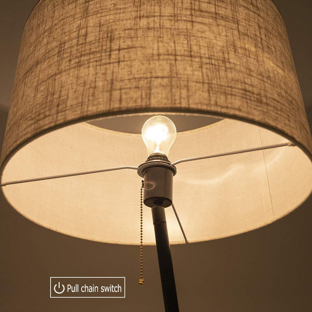 Wellmet Modern Tripod Floor Lamp With Wooden Shelves, Wood