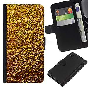 Sony Xperia Z2 D6502 D6503 D6543 L50t L50u , la tarjeta de Crédito Slots PU Funda de cuero Monedero caso cubierta de piel ( Golden Wall Design Architecture Material Art)