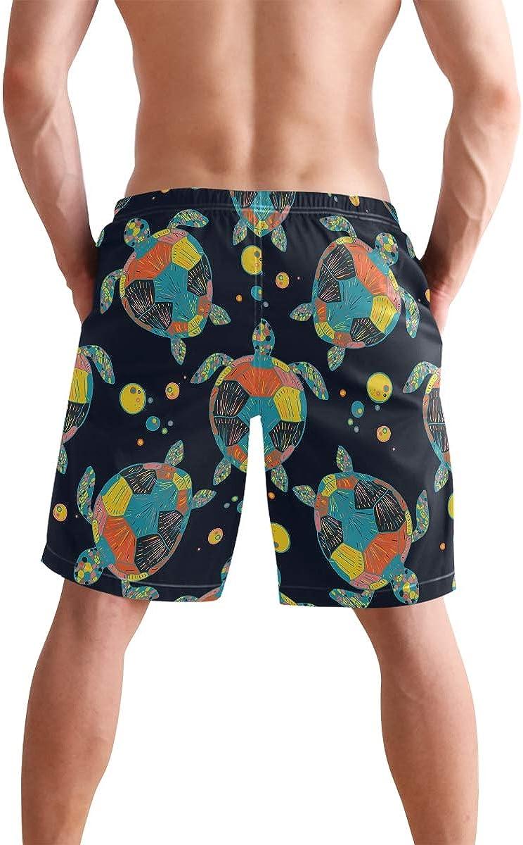 Mens Swim Trunks Watercolor Blue Orange Sea Turtle Pattern Dark Beach Board Shorts