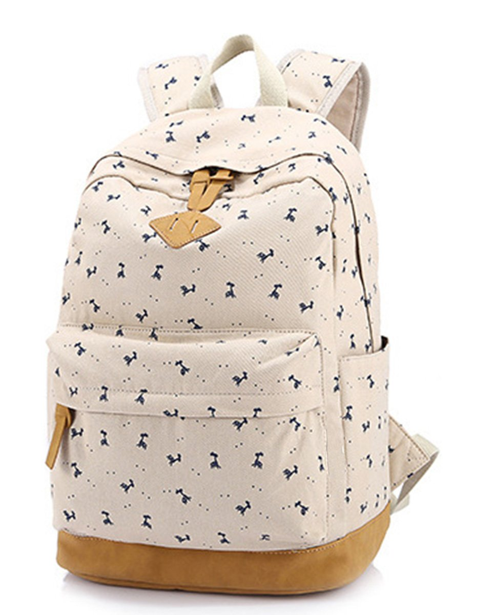 b686f4d2c71b8 Panegy Damen Mädchen Mode Design Blumendruck-Art Canvas Schulrucksack mit Laptop  Reisen Rucksack für Freizeit Camping Picknick Außflug Sports Backpack ...