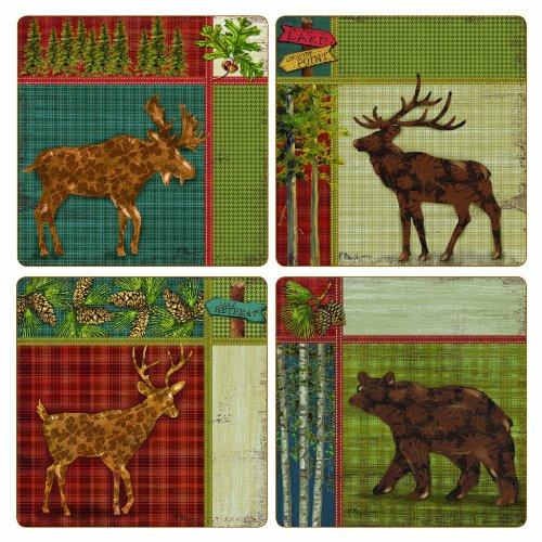 CoasterStone AS10023 Absorbent Coasters, 4-1/4-Inch, Camp Creek Moose Elk Deer Bear, Set of 4