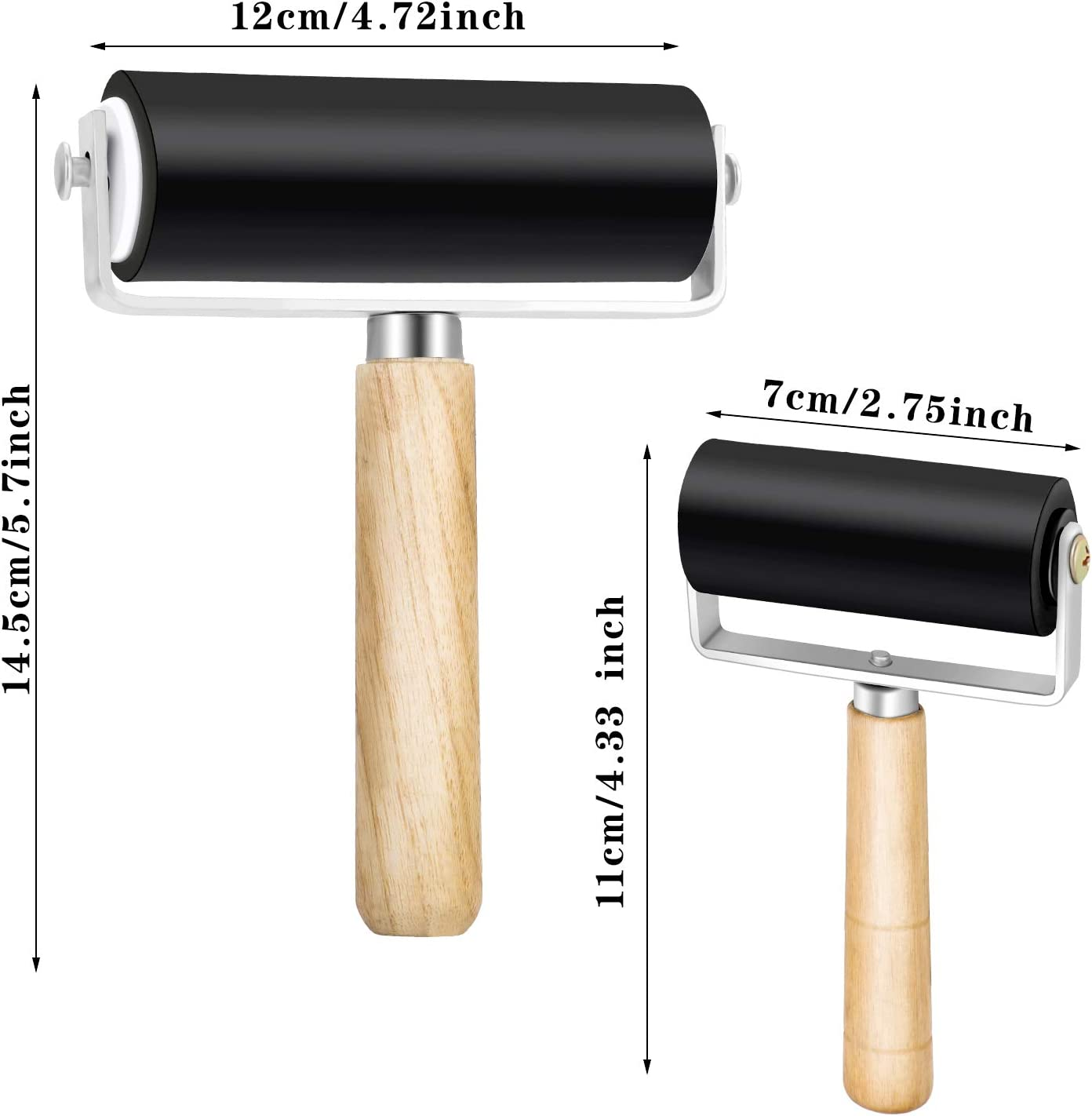 2 Piezas Rodillo de Goma Dura Rodillo de Brayer Aplicador de Tinta Rodillo de Arte de Grabado para Imprimiendo Aplicando Pegamento Papel Pintado 4 Pulgadas y 2,4 Pulgadas