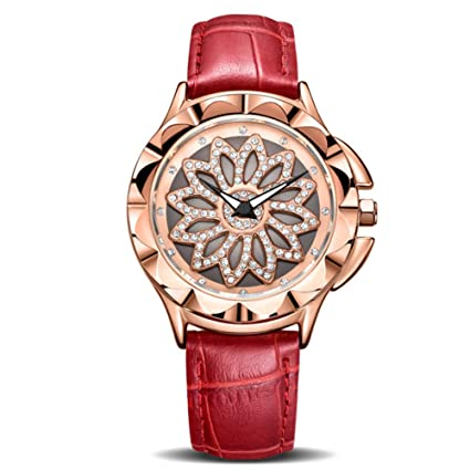 SBDONGJX Mujeres de Lujo Relojes Moda girada Dial Señoras Reloj de Cuarzo Amantes de Cuero Rojo