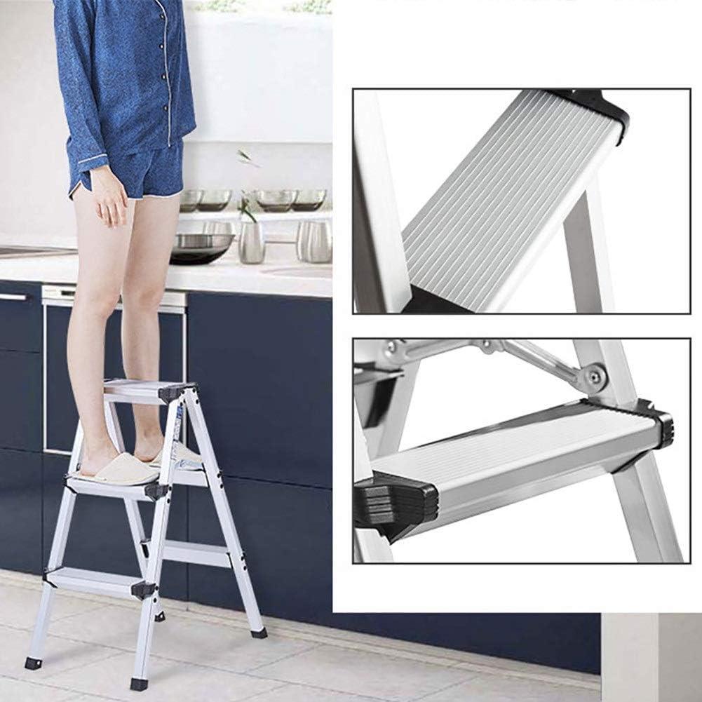 Plata de Peso Ligero Plegable Escalera Plegable, Antideslizante Robusta y Ancha Escalera Pedal Steel - 3 Paso Escaleras Taburete - 55,5 × 39 × 74cm: Amazon.es: Hogar